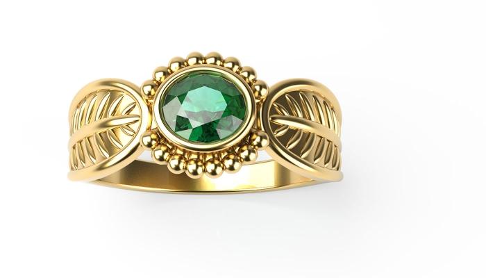 Emerald Leaf Ring