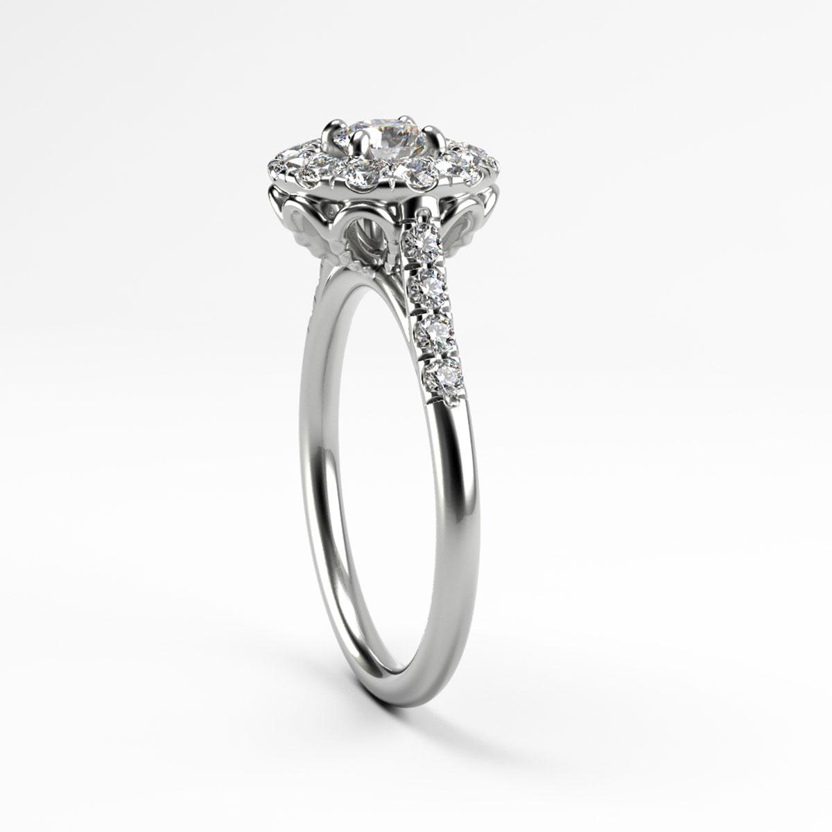 Daisy Basket Brilliant Round Halo Engagement Ring